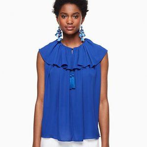 Kate Spade Extra Small Blue Ruffle Tie Neck Top